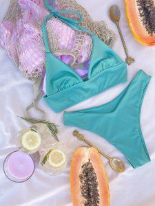 Bikini Begonia fruncido en el pecho